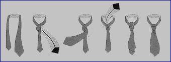 2. Универсальный узел.  Очень распространенный способ завязывыания, этим способом можно завязывать любой галстук).